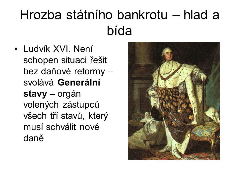 Hrozba státního bankrotu – hlad a bída •Ludvík XVI. Není schopen situaci řešit bez daňové reformy – svolává Generální stavy – orgán volených zástupců