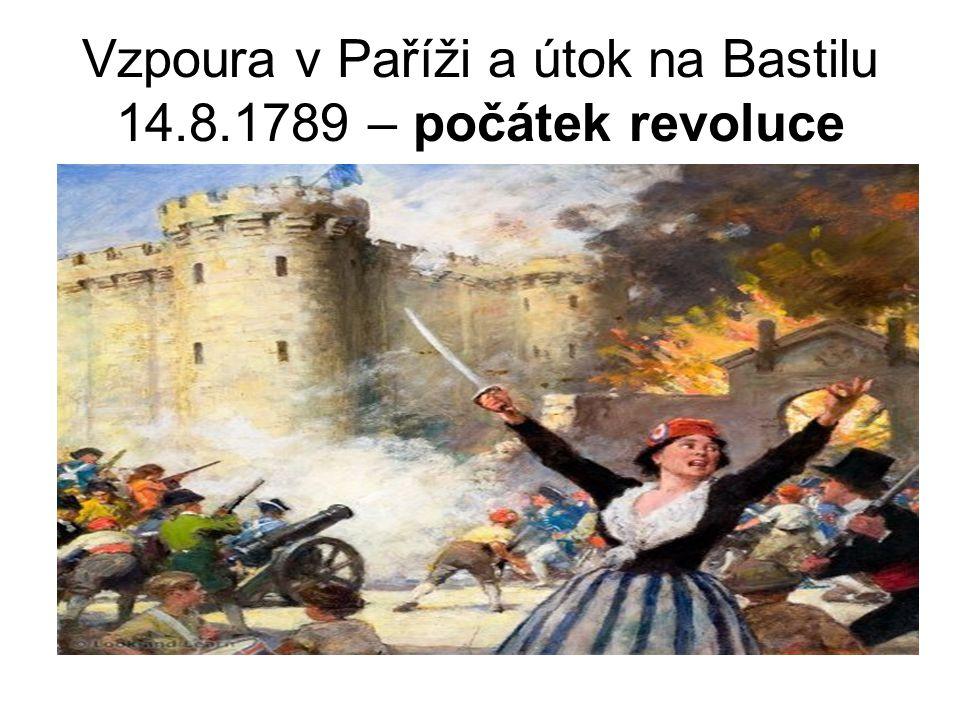 Vzpoura v Paříži a útok na Bastilu 14.8.1789 – počátek revoluce