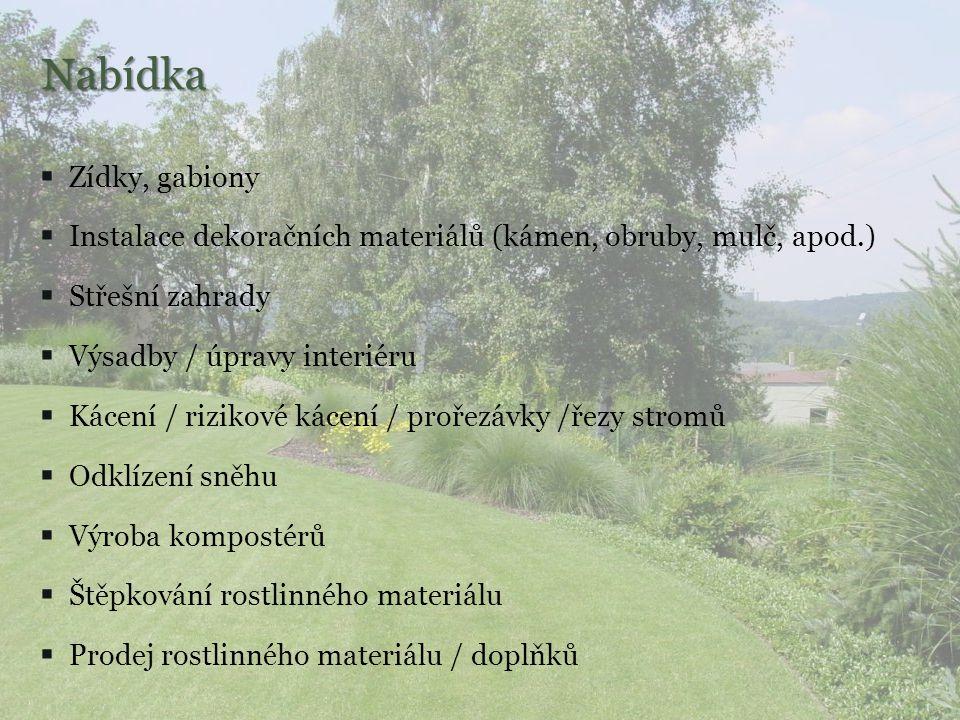Sečení travnatých ploch Štěpkování rostlinného materiálu