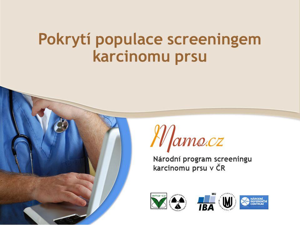 Pokrytí cílové populace mamografickým screeningem DEFINICE Původní cílová populace dle vyhlášky 372/2002: ženy ve věku 45-69 let: 1 762 887 žen (31.12.2011) Během screeningového intervalu 24 měsíců (roky 2010 a 2011) bylo provedeno 959 299 vyšetření u žen ve věku 45-69 let.