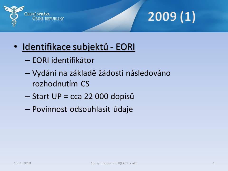 • Identifikace subjektů - EORI – EORI identifikátor – Vydání na základě žádosti následováno rozhodnutím CS – Start UP = cca 22 000 dopisů – Povinnost odsouhlasit údaje 16.