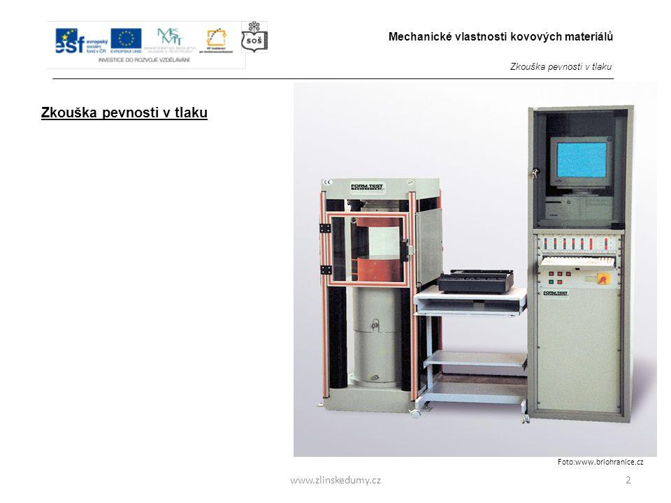 www.zlinskedumy.cz Zkouška pevnosti v tlaku - Zkušební tělesa kovů mají tvar válce o průměru 10 – 30 mm.