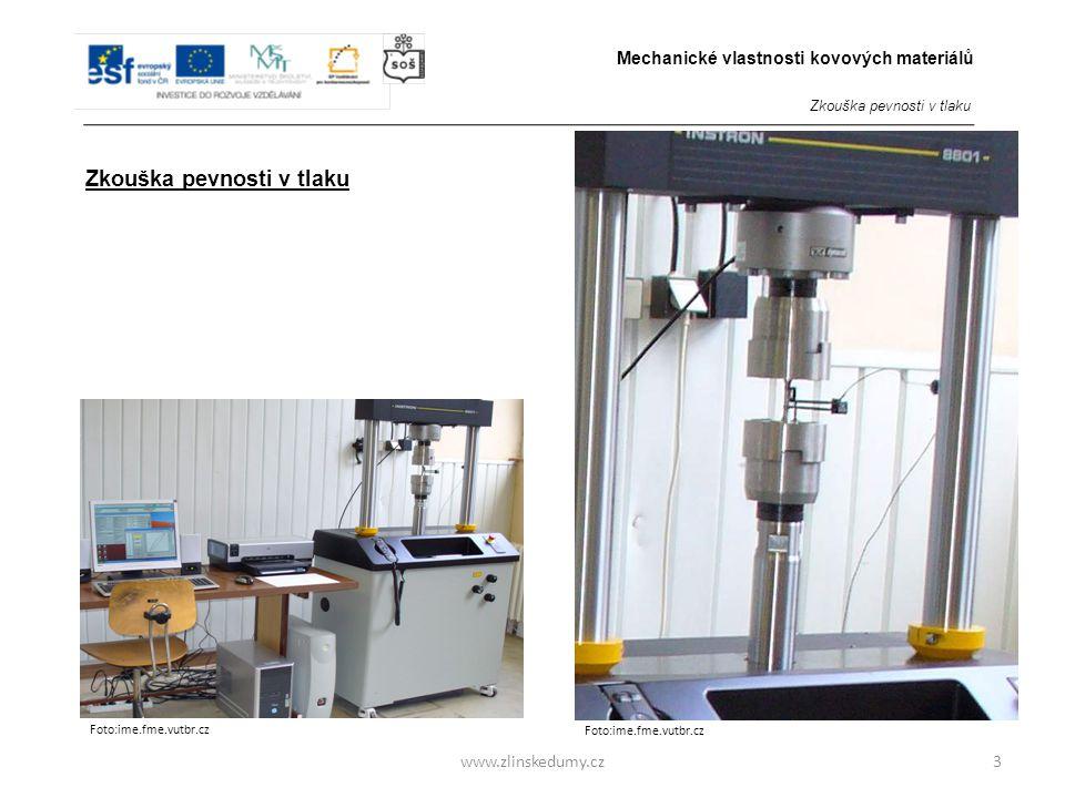 www.zlinskedumy.cz Pracovní diagram zkoušky pevnosti v tlaku měkké oceli 4 První údobí zkoušky - Stlačení zkušebního vzorku je přímo úměrné tlakovému zatížení.