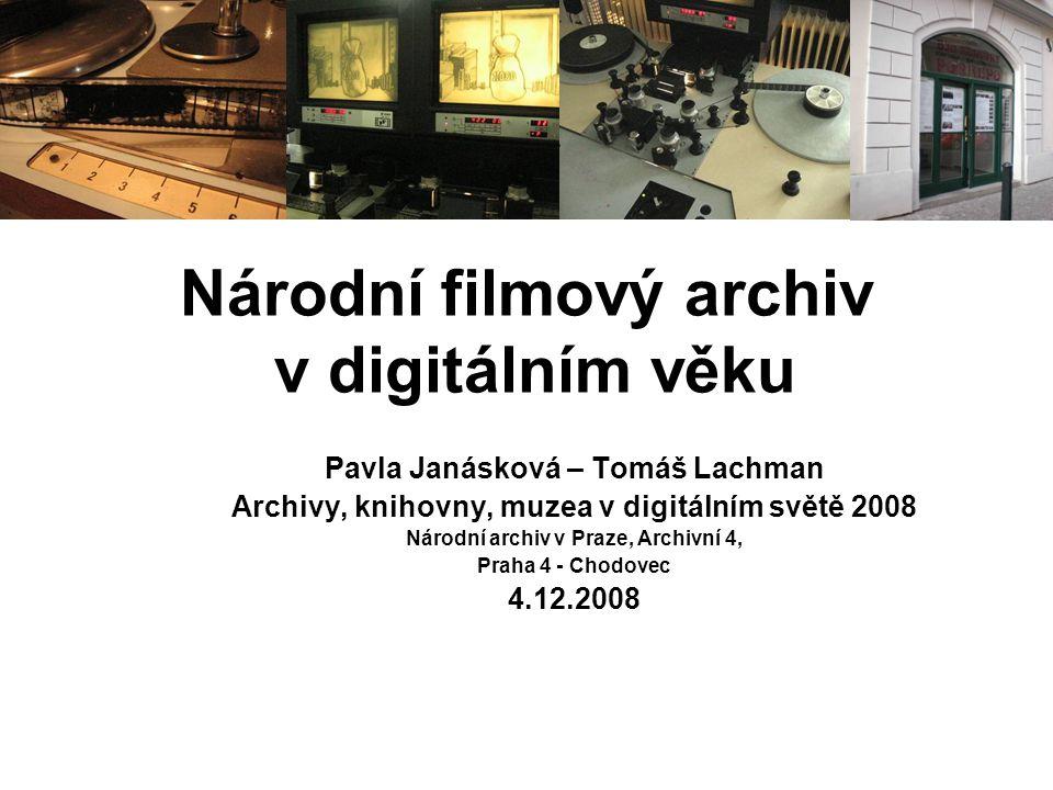 Archivy, knihovny, muzea v digitálním světě 2008 MIDAS (2006 – 2008) •Moving Image Database for Access and Re-use of European Film Collection •Nehrané filmy – on-line vyhledávání ve sbírkách partnerských institucí – DIF, BFI, NFA, DEFA-Stiftung, Cineteca di Bologna, v současnosti již 17 členů z 11 zemí EU •Metadata o existenci filmových materiálů (20 000 titulů), lokace, kontakty na instituce, informace o nositeli autorských práv