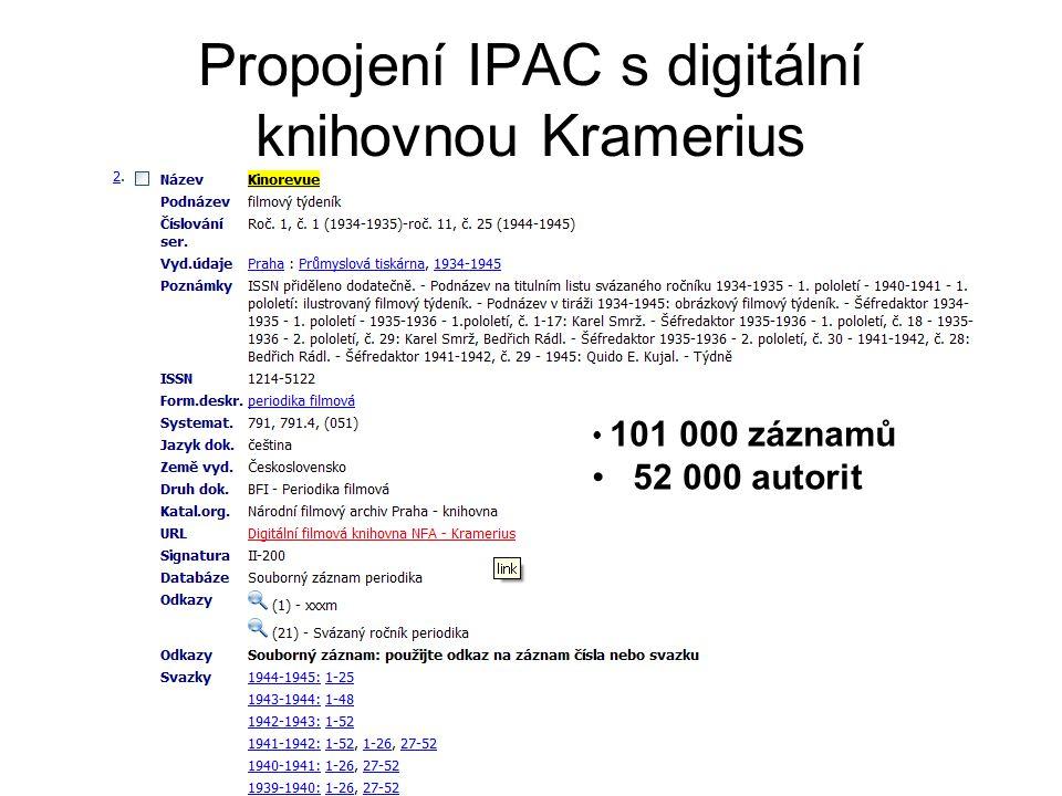 Archivy, knihovny, muzea v digitálním světě 2008 Propojení IPAC s digitální knihovnou Kramerius • 101 000 záznamů • 52 000 autorit