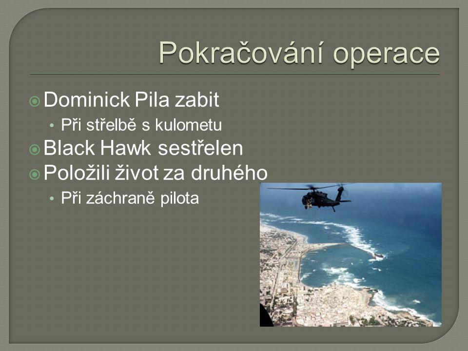  Dominick Pila zabit • Při střelbě s kulometu  Black Hawk sestřelen  Položili život za druhého • Při záchraně pilota