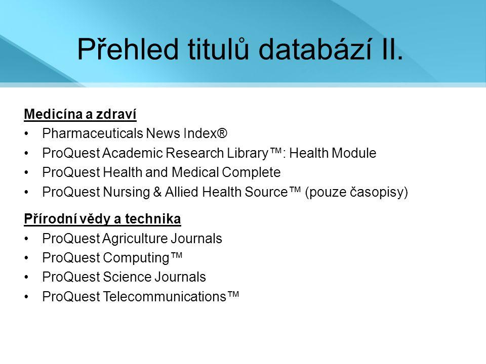 Přehled titulů databází II.