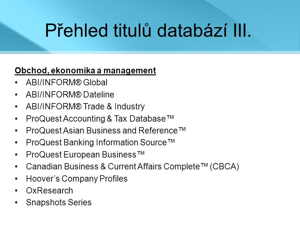 Přehled titulů databází III.