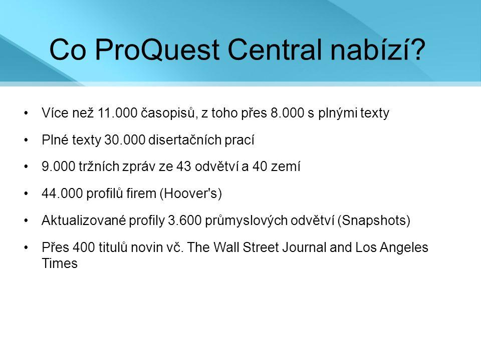 Co ProQuest Central nabízí.