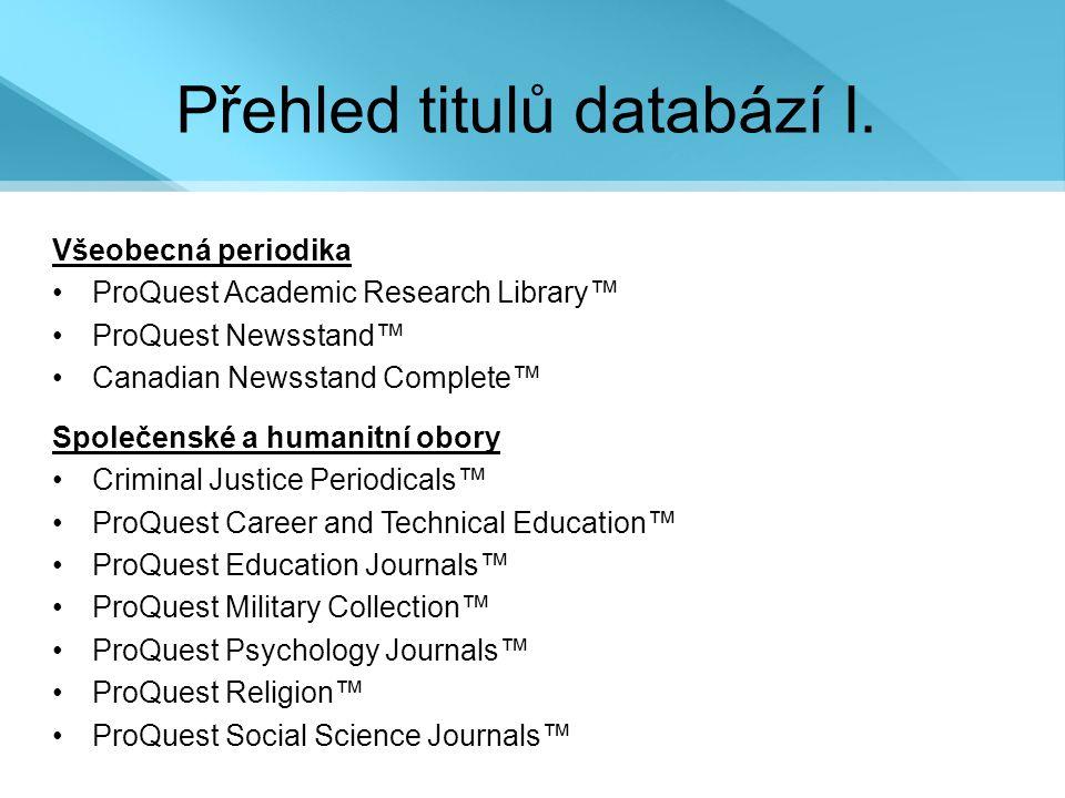 Přehled titulů databází I.