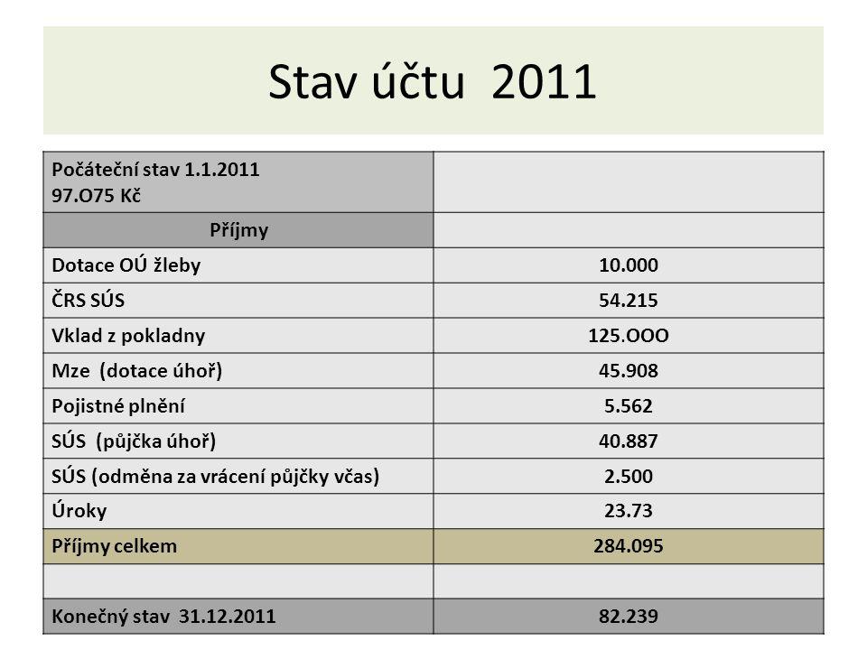 Stav účtu 2011 Výdaje Nákup ryb173.867 Členské známky22.000 Pojistné3.075 Zpracování projektu5.000 El.