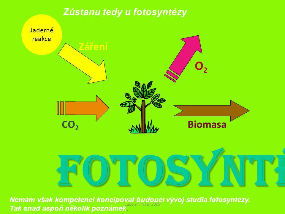 Jaderné reakce Záření CO 2 O2O2 Biomasa FOTOSYNTÉZA Lubomír Nátr 2009 Zůstanu tedy u fotosyntézy Nemám však kompetenci koncipovat budoucí vývoj studia