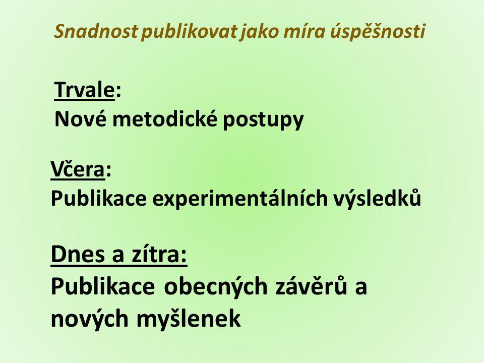 Včera: Publikace experimentálních výsledků Dnes a zítra: Publikace obecných závěrů a nových myšlenek Trvale: Nové metodické postupy Snadnost publikova