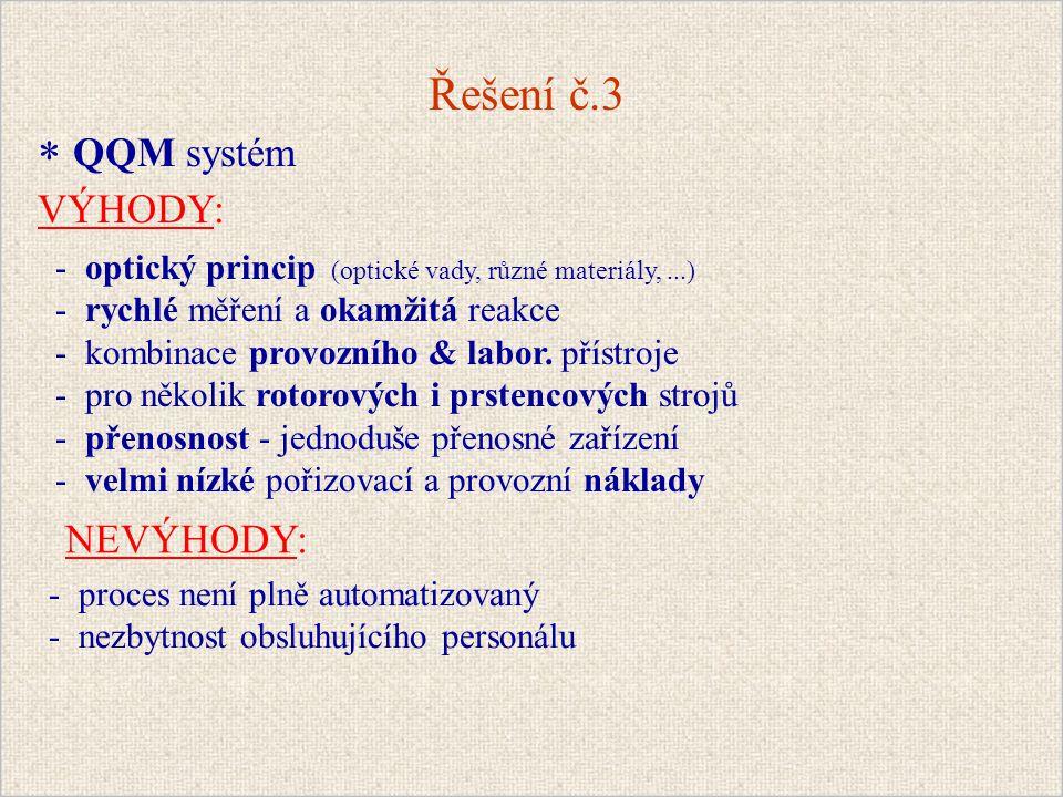 Řešení č.3 * QQM systém VÝHODY: NEVÝHODY: - optický princip (optické vady, různé materiály,...) - rychlé měření a okamžitá reakce - kombinace provozního & labor.