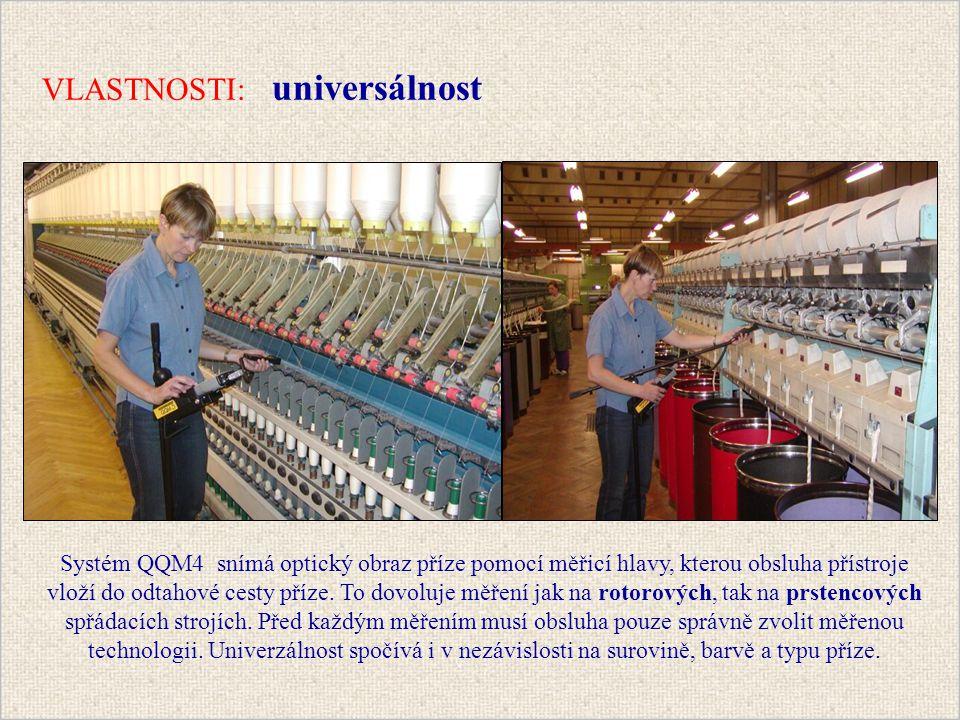 Systém QQM4 snímá optický obraz příze pomocí měřicí hlavy, kterou obsluha přístroje vloží do odtahové cesty příze.