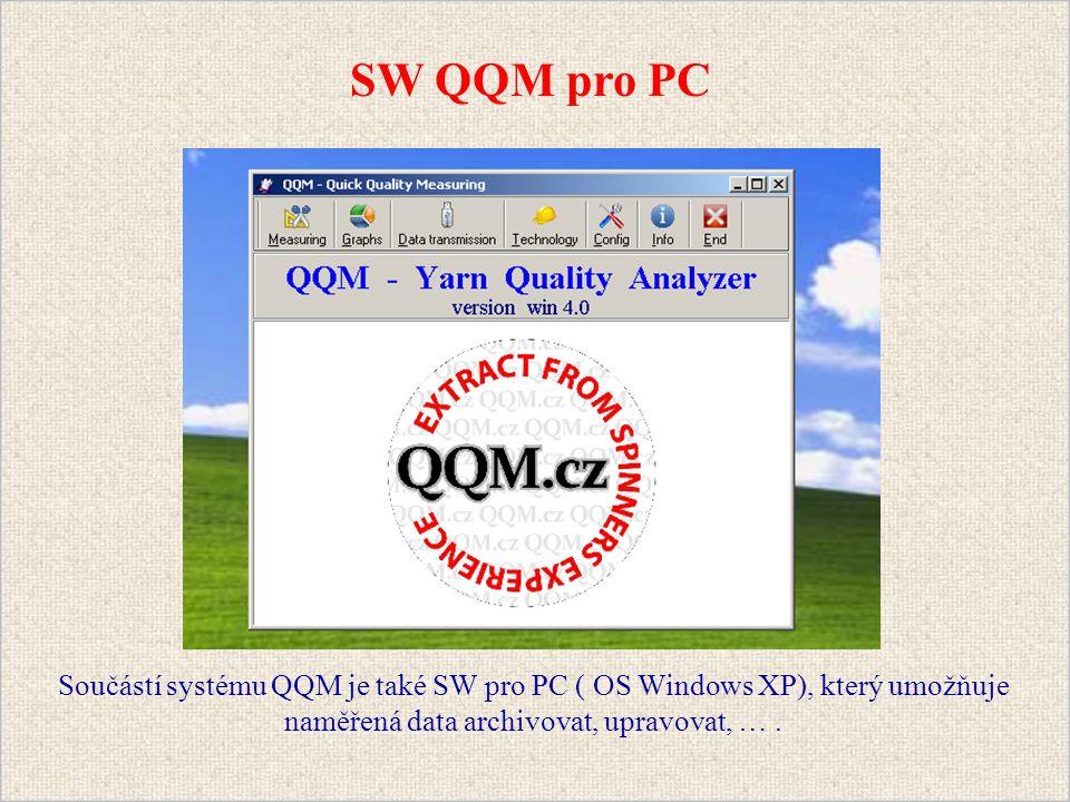 Součástí systému QQM je také SW pro PC ( OS Windows XP), který umožňuje naměřená data archivovat, upravovat, ….