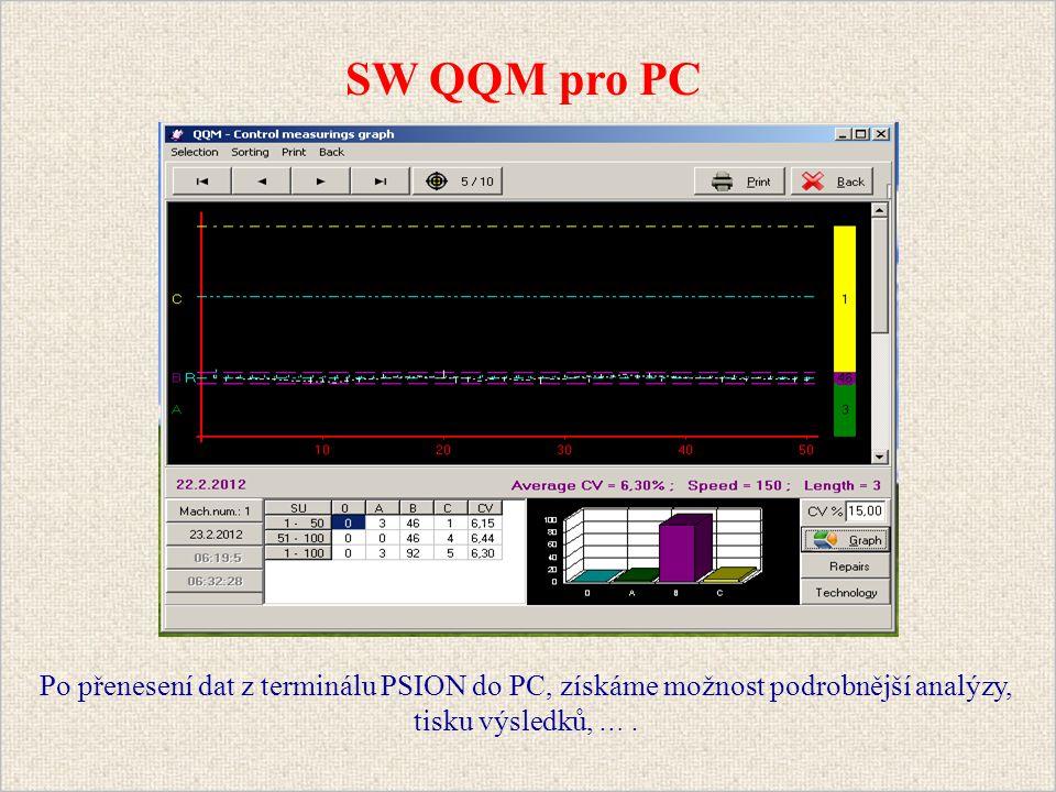 Po přenesení dat z terminálu PSION do PC, získáme možnost podrobnější analýzy, tisku výsledků, ….
