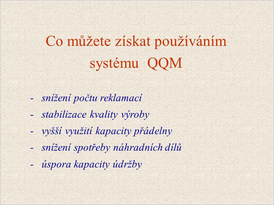 Co můžete získat používáním systému QQM - snížení počtu reklamací - stabilizace kvality výroby - vyšší využití kapacity přádelny - snížení spotřeby náhradních dílů - úspora kapacity údržby