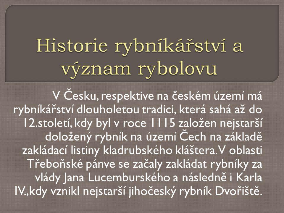 V Česku, respektive na českém území má rybníkářství dlouholetou tradici, která sahá až do 12.století, kdy byl v roce 1115 založen nejstarší doložený r
