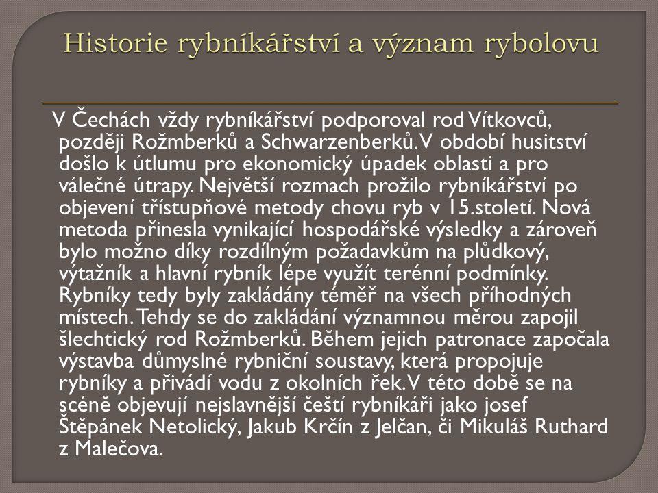 V Čechách vždy rybníkářství podporoval rod Vítkovců, později Rožmberků a Schwarzenberků. V období husitství došlo k útlumu pro ekonomický úpadek oblas