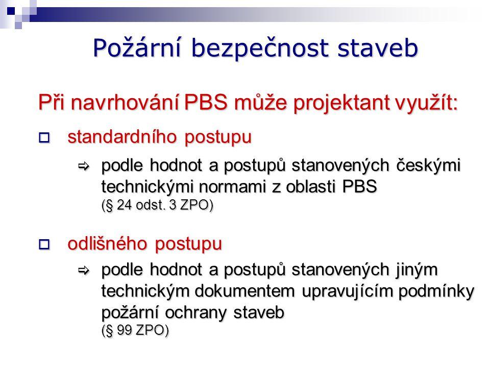 Technické podmínky PO staveb Vyhláška č. 23/2008 Sb. Navrhování § 2 - § 28 Provádění § 29 Užívání § 30 Opravy a údržba § 31 - §32