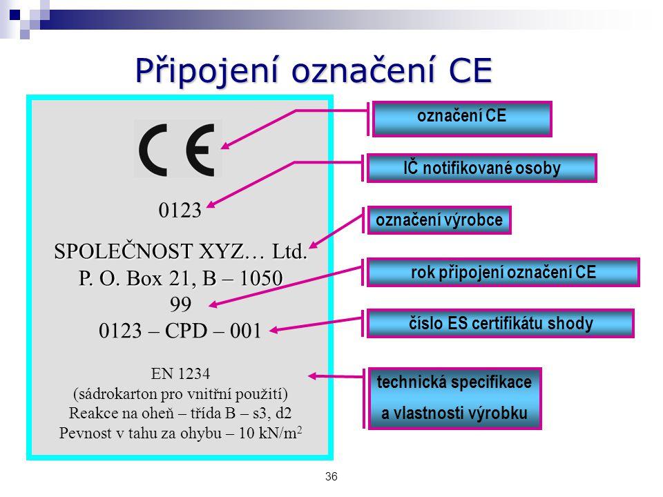 35 Připojení označení CE Harmonizovaná ČSN – příloha ZA
