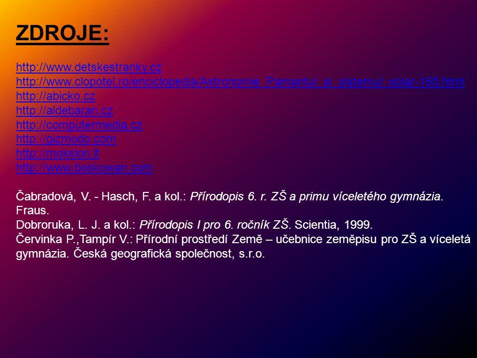 ZDROJE: http://www.detskestranky.cz http://www.clopotel.ro/enciclopedia/Astronomie_Pamantul_si_sistemul_solar-165.html http://abicko.cz http://aldebar