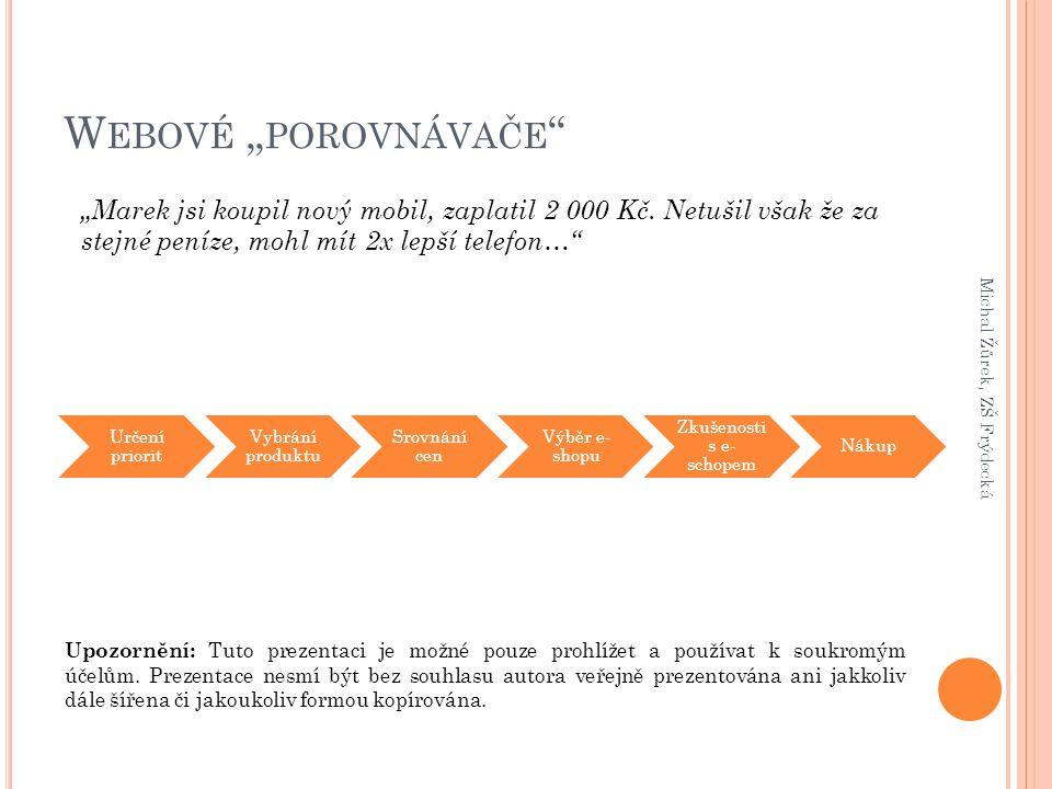 """W EBOVÉ """" POROVNÁVAČE Michal Žůrek, ZŠ Frýdecká """"Marek jsi koupil nový mobil, zaplatil 2 000 Kč."""