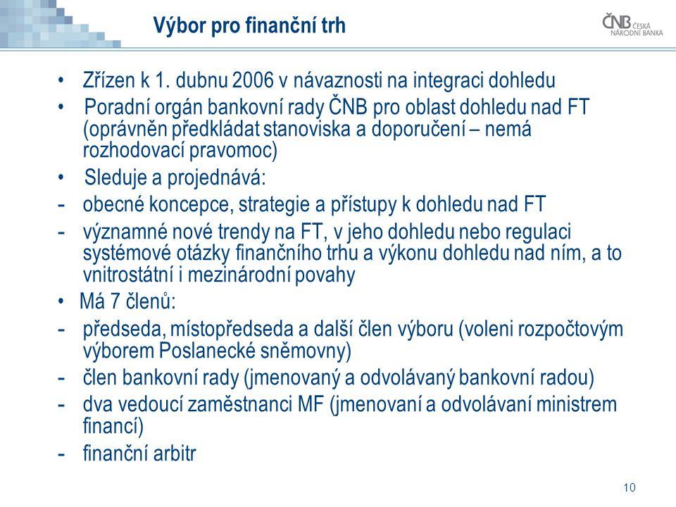 10 Výbor pro finanční trh •Zřízen k 1. dubnu 2006 v návaznosti na integraci dohledu • Poradní orgán bankovní rady ČNB pro oblast dohledu nad FT (opráv