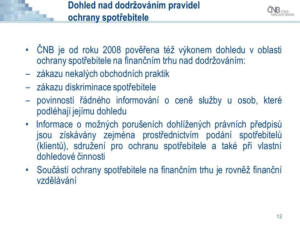 12 Dohled nad dodržováním pravidel ochrany spotřebitele •ČNB je od roku 2008 pověřena též výkonem dohledu v oblasti ochrany spotřebitele na finančním