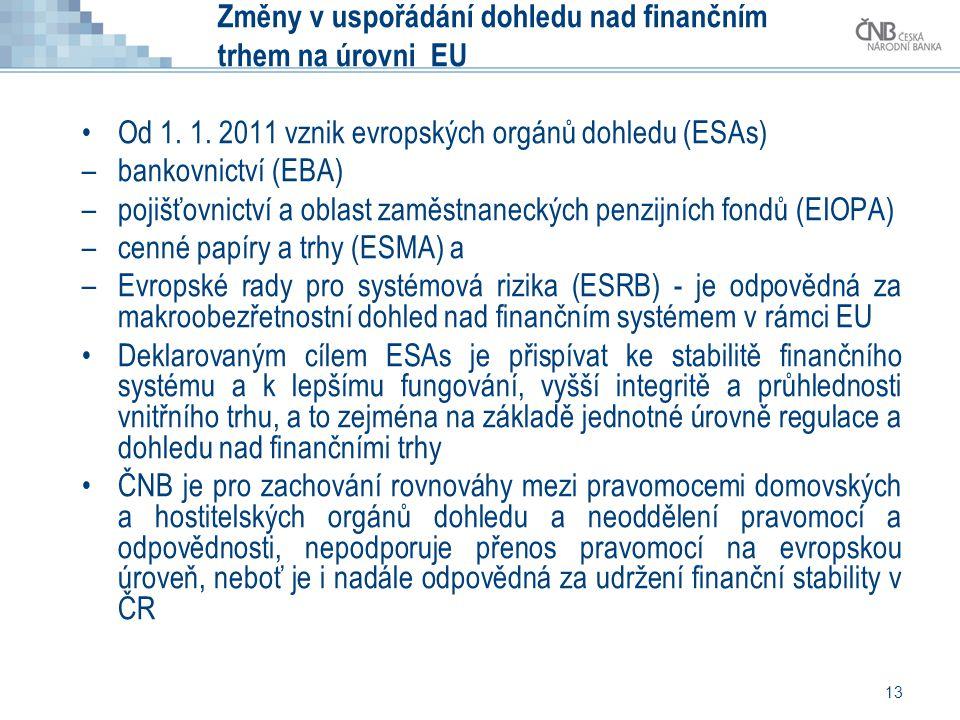 13 Změny v uspořádání dohledu nad finančním trhem na úrovni EU •Od 1. 1. 2011 vznik evropských orgánů dohledu (ESAs) –bankovnictví (EBA) –pojišťovnict