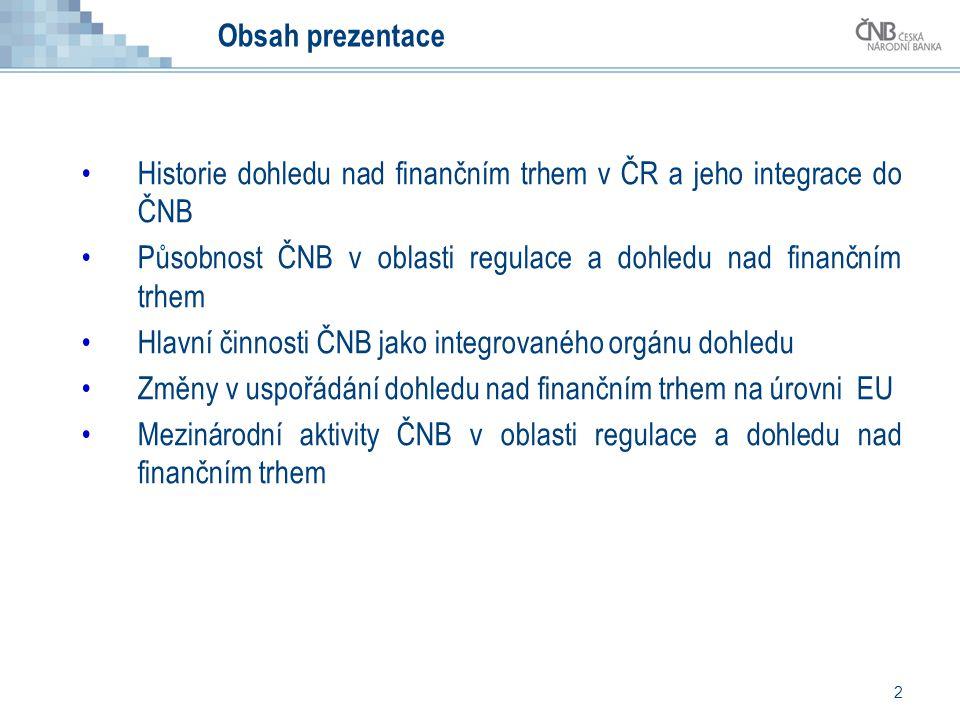 2 Obsah prezentace •Historie dohledu nad finančním trhem v ČR a jeho integrace do ČNB •Působnost ČNB v oblasti regulace a dohledu nad finančním trhem