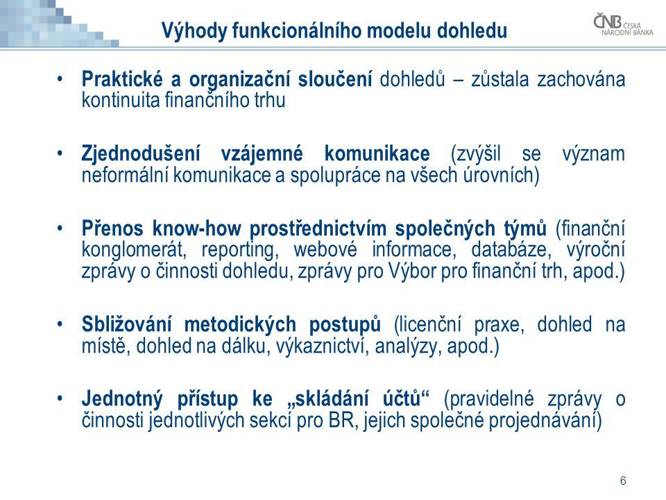 6 Výhody funkcionálního modelu dohledu • Praktické a organizační sloučení dohledů – zůstala zachována kontinuita finančního trhu • Zjednodušení vzájem
