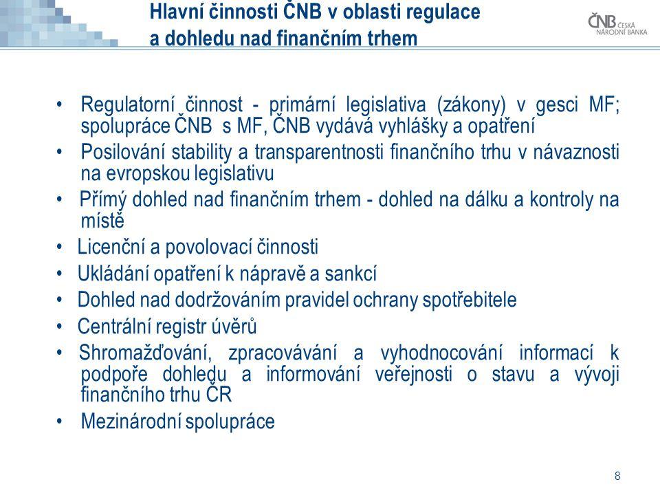 8 Hlavní činnosti ČNB v oblasti regulace a dohledu nad finančním trhem •Regulatorní činnost - primární legislativa (zákony) v gesci MF; spolupráce ČNB