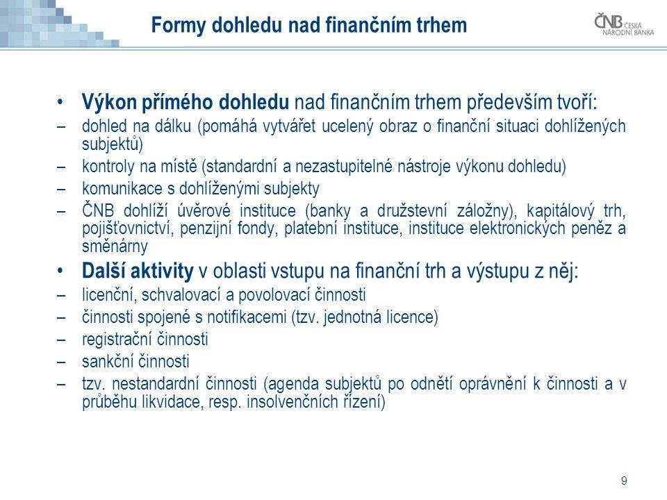 9 Formy dohledu nad finančním trhem • Výkon přímého dohledu nad finančním trhem především tvoří: –dohled na dálku (pomáhá vytvářet ucelený obraz o fin