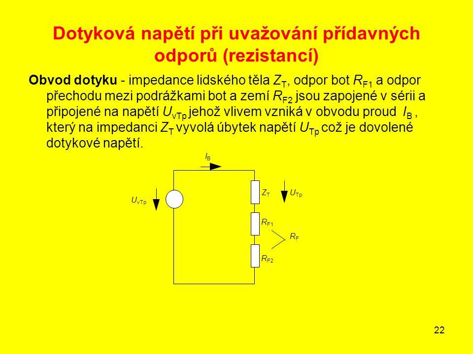 22 Dotyková napětí při uvažování přídavných odporů (rezistancí) Obvod dotyku - impedance lidského těla Z T, odpor bot R F1 a odpor přechodu mezi podrá