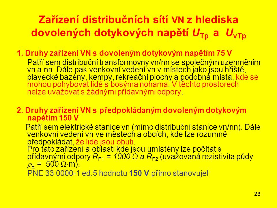 28 Zařízení distribučních sítí VN z hlediska dovolených dotykových napětí U Tp a U vTp 1. Druhy zařízení VN s dovoleným dotykovým napětím 75 V Patří s