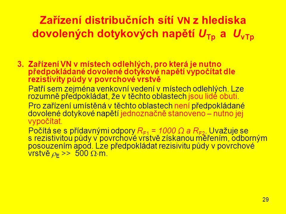 29 Zařízení distribučních sítí VN z hlediska dovolených dotykových napětí U Tp a U vTp 3. Zařízení VN v místech odlehlých, pro která je nutno předpokl