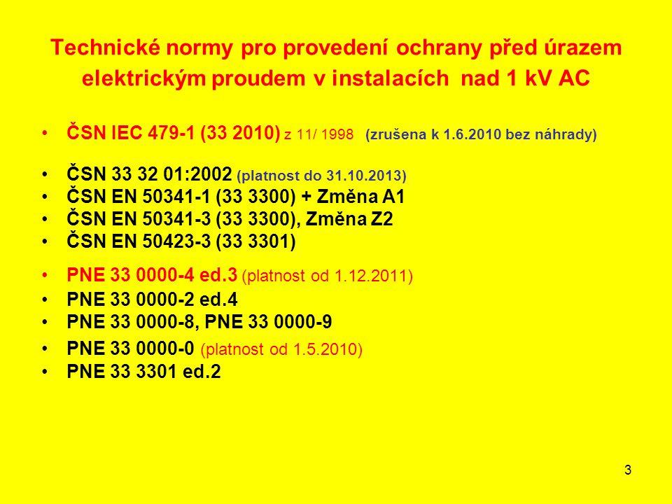 3 Technické normy pro provedení ochrany před úrazem elektrickým proudem v instalacích nad 1 kV AC •ČSN IEC 479-1 (33 2010) z 11/ 1998 (zrušena k 1.6.2