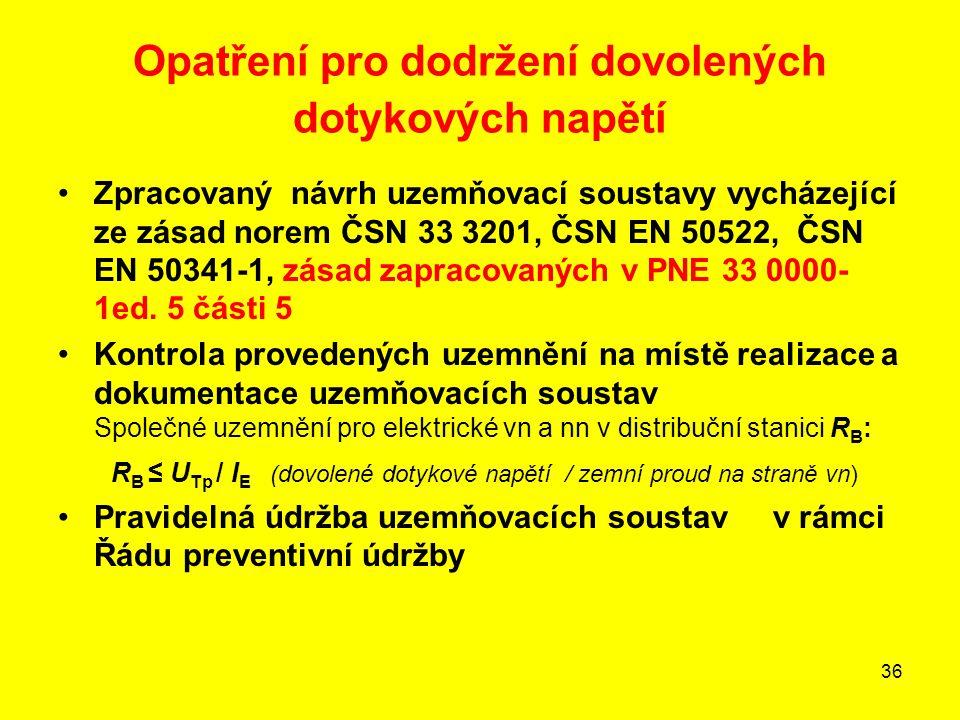36 Opatření pro dodržení dovolených dotykových napětí •Zpracovaný návrh uzemňovací soustavy vycházející ze zásad norem ČSN 33 3201, ČSN EN 50522, ČSN