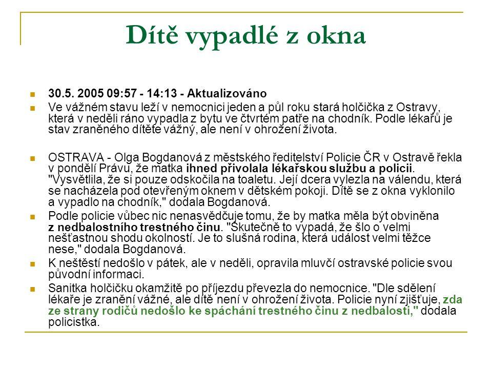 Dítě vypadlé z okna  30.5. 2005 09:57 - 14:13 - Aktualizováno  Ve vážném stavu leží v nemocnici jeden a půl roku stará holčička z Ostravy, která v n