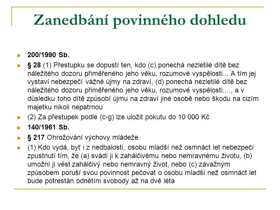 Zanedbání povinného dohledu  200/1990 Sb.  § 28 (1) Přestupku se dopustí ten, kdo (c) ponechá nezletilé dítě bez náležitého dozoru přiměřeného jeho