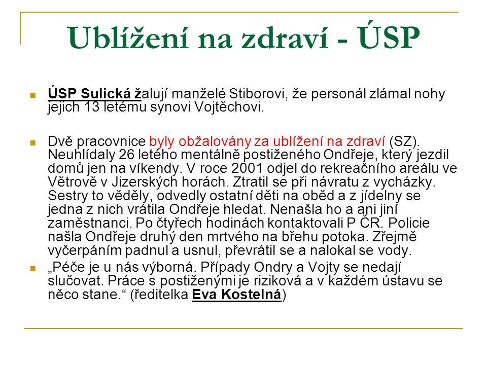Ublížení na zdraví - ÚSP  ÚSP Sulická žalují manželé Stiborovi, že personál zlámal nohy jejich 13 letému synovi Vojtěchovi.  Dvě pracovnice byly obž