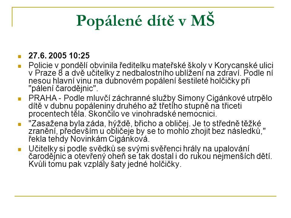 Popálené dítě v MŠ  27.6. 2005 10:25  Policie v pondělí obvinila ředitelku mateřské školy v Korycanské ulici v Praze 8 a dvě učitelky z nedbalostníh