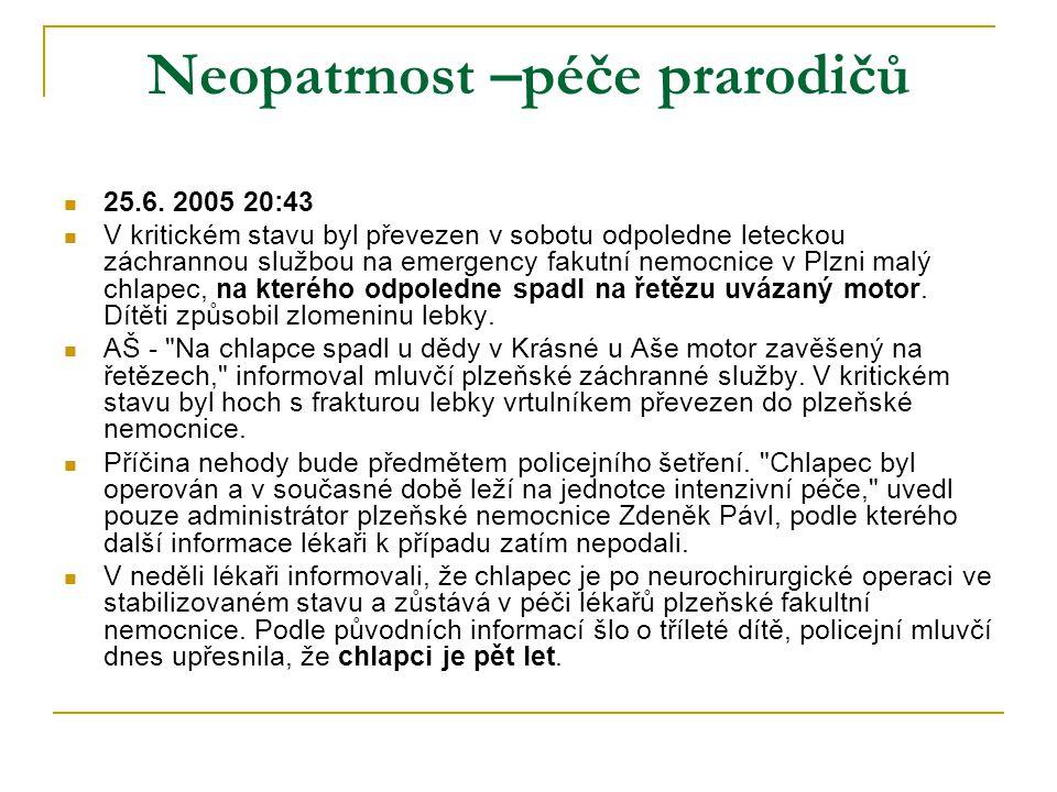 Neopatrnost –péče prarodičů  25.6. 2005 20:43  V kritickém stavu byl převezen v sobotu odpoledne leteckou záchrannou službou na emergency fakutní ne