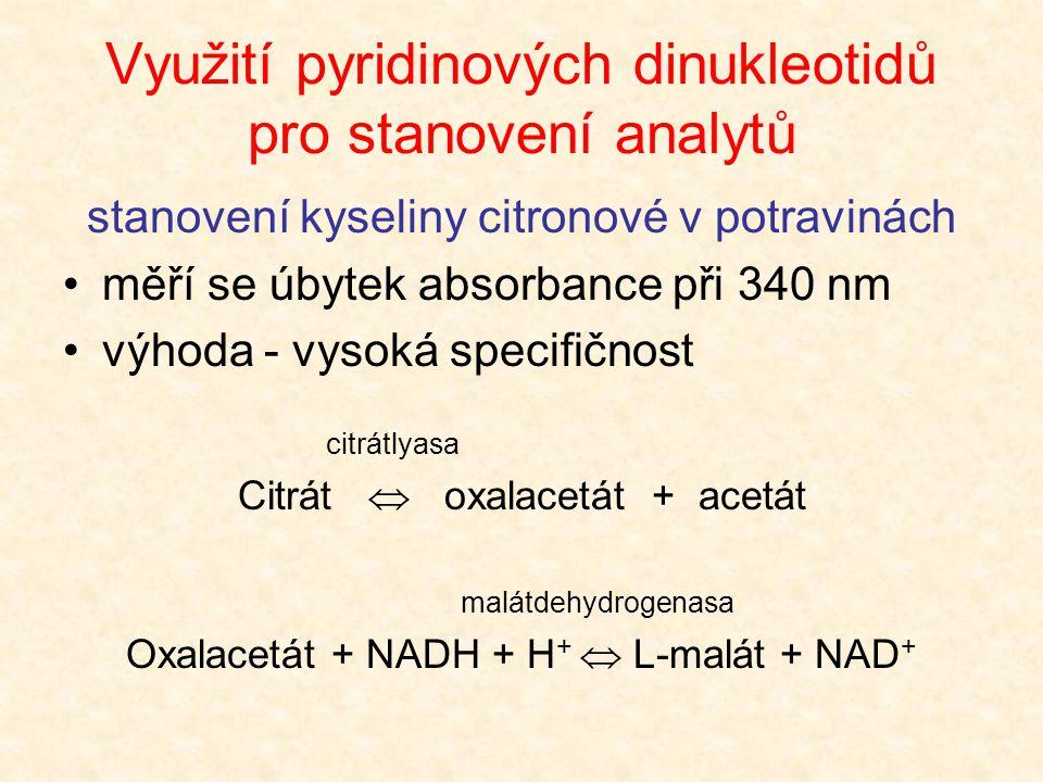 Využití pyridinových dinukleotidů pro stanovení analytů stanovení kyseliny citronové v potravinách •měří se úbytek absorbance při 340 nm •výhoda - vys