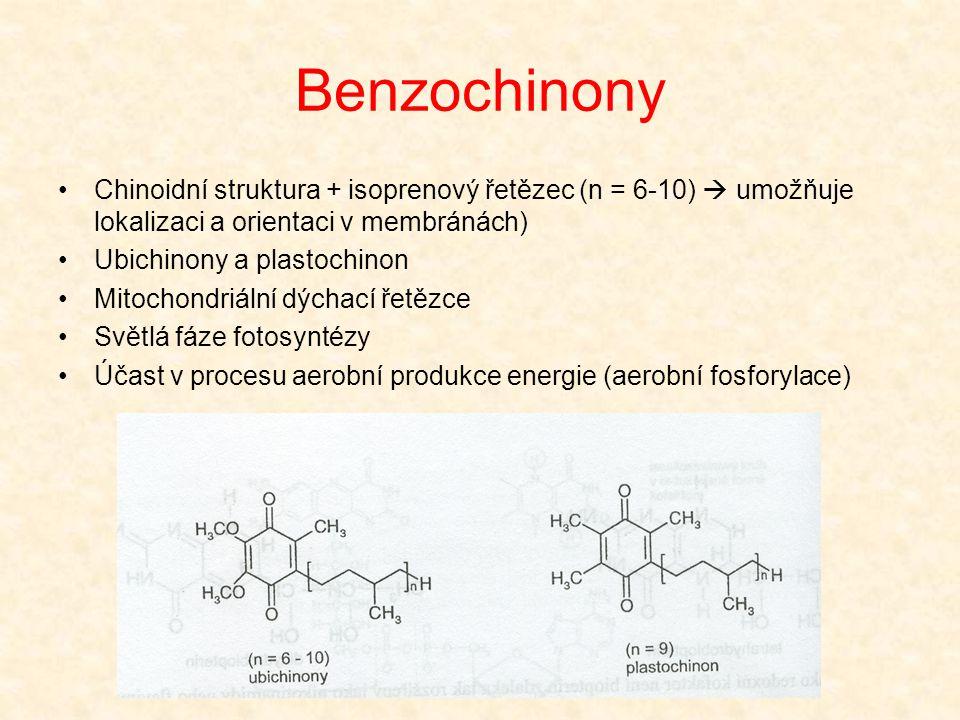 Benzochinony •Chinoidní struktura + isoprenový řetězec (n = 6-10)  umožňuje lokalizaci a orientaci v membránách) •Ubichinony a plastochinon •Mitochon