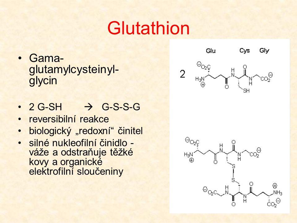 """Glutathion •Gama- glutamylcysteinyl- glycin •2 G-SH  G-S-S-G •reversibilní reakce •biologický """"redoxní"""" činitel •silné nukleofilní činidlo - váže a o"""