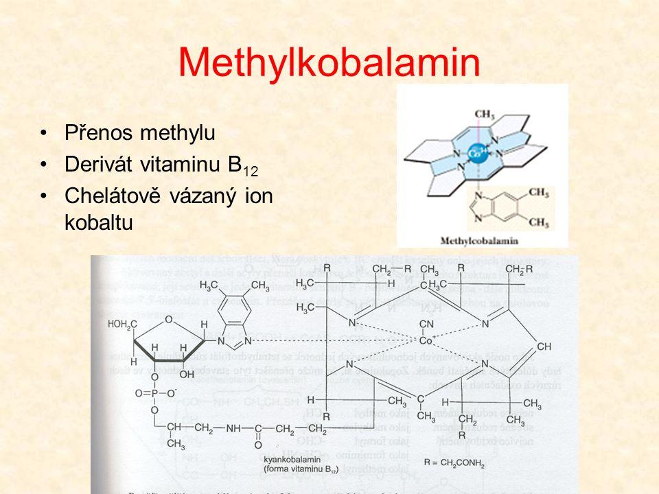 Methylkobalamin •Přenos methylu •Derivát vitaminu B 12 •Chelátově vázaný ion kobaltu