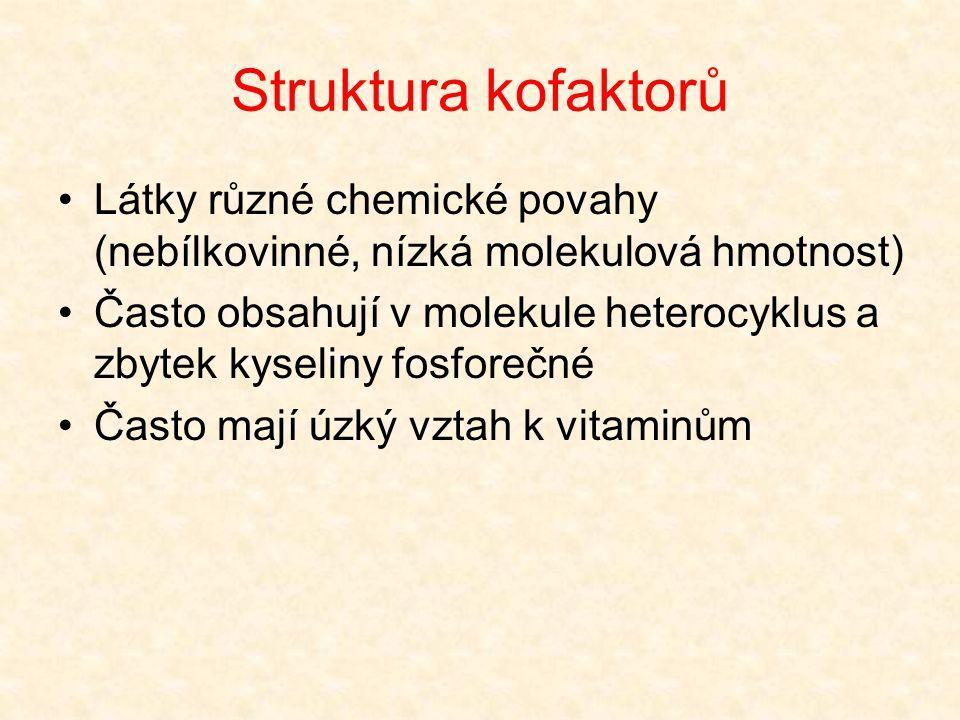 Struktura kofaktorů •Látky různé chemické povahy (nebílkovinné, nízká molekulová hmotnost) •Často obsahují v molekule heterocyklus a zbytek kyseliny f